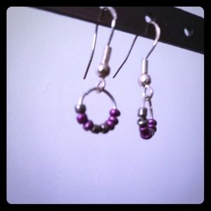 Sterling silver hooks simple bead loop earrings